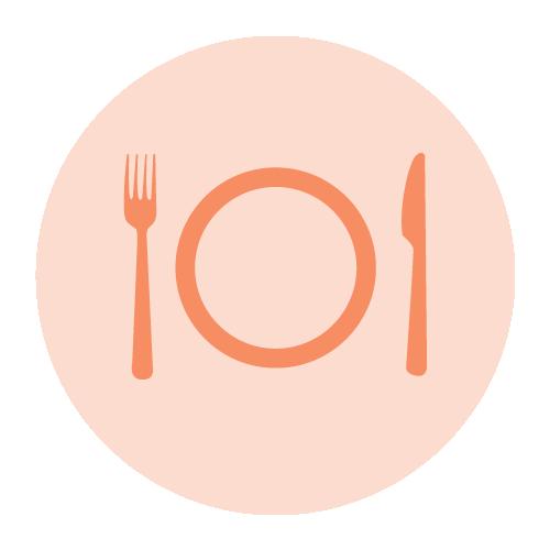 pictogramme assiette avec couverts